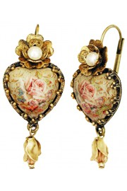 Michal Negrin Pearl Rose Cabochon Heart Earrings