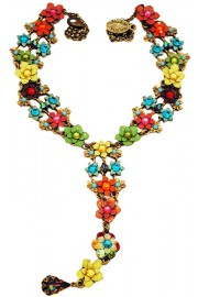 Michal Negrin Multicolor Drop Tie Necklace