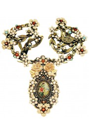 Michal Negrin Roses Cameo Cream Necklace