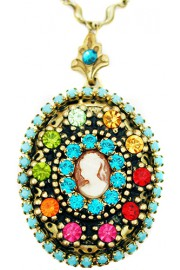 Michal Negrin Multicolor Cameo Locket Necklace