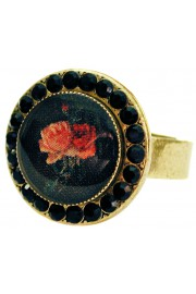 Michal Negrin Black Roses Round Cameo Crystal Ring