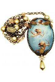 Michal Negrin Flying Cupids Cabochon Cameo Necklace