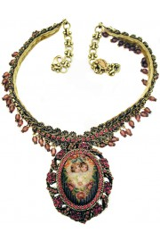 Michal Negrin Purple Cherubs Cameo Necklace