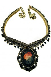 Michal Negrin Gothic Roses Black Cameo Necklace