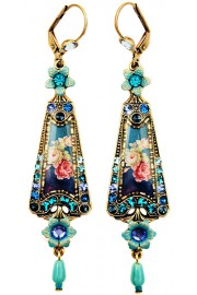 Michal Negrin Blue Roses Triangle Earrings