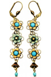 Michal Negrin Turquoise Bronze Triple Flowers Earrings