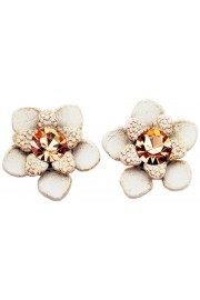 Michal Negrin White Gold Flower Stud Earrings