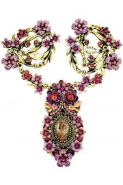 Michal Negrin Purple Cherubs Roses Cameo Ornate Necklace