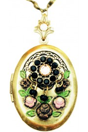 Michal Negrin Black Crystals Oval Locket Necklace