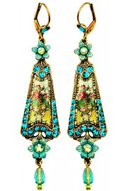 Michal Negrin Turquoise Green Flowers Triangle Earrings