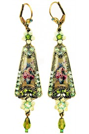 Michal Negrin Green Roses Triangle Earrings