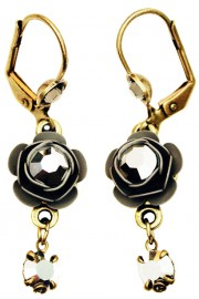 Michal Negrin Silver Grey Crystal Rose Earrings