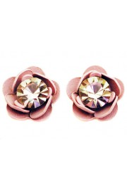 Michal Negrin Pink Lilac Rose Stud Earrings