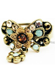 Michal Negrin Bronze & Sea Green Bow Ring