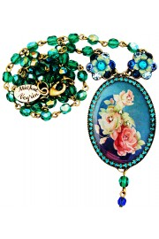 Michal Negrin Blue Victorian Roses Beaded Cameo Necklace