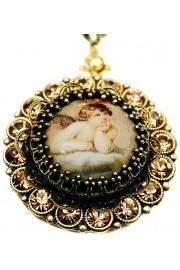 Michal Negrin Musing Cherub Gold Crystals Locket Necklace