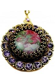 Michal Negrin Violet Roses Crystals Locket Necklace