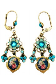 Michal Negrin Turquoise Roses Cameo Earrings