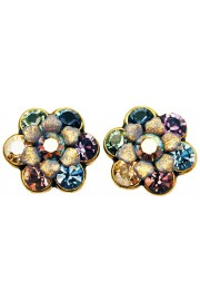 Michal Negrin Purple Grey Peach Crystal Flower Stud Earrings