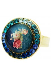 Michal Negrin Blue Roses Round Cameo Crystal Ring