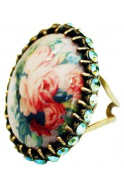 Michal Negrin Victorian Roses Crystals Cabochon Ring