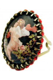 Michal Negrin Cupid Red Crystals Cabochon Ring