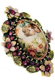 Michal Negrin Purple Cherubs Ornate Cabochon Cameo Ring