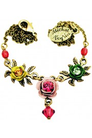 Michal Negrin Multicolor Triple Rose Necklace