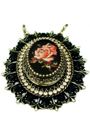 Michal Negrin Black Peach Roses Crystals Locket Necklace