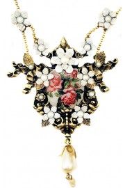 Michal Negrin Pearl Roses Cameo Necklace
