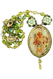 Michal Negrin Green Cherub Cameo Beaded Necklace