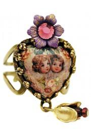Michal Negrin Purple Victorian Cherubs Heart Ring