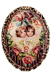 Michal Negrin Purple Cherubs Oval Cameo Brooch