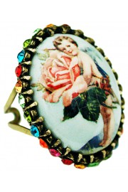 Michal Negrin Rose Cherub Crystal Ring
