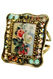 Michal Negrin Vintage Roses Rectangle Ring