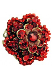 Michal Negrin Red Beaded Crystal Flower Ring