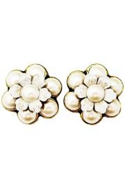 Michal Negrin Pearl Flower Stud Earrings