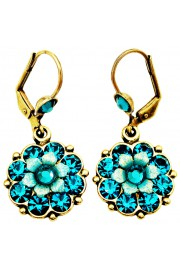 Michal Negrin Turquoise Crystal Flower Earrings