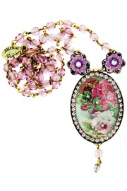 Michal Negrin Purple Victorian Cameo Necklace