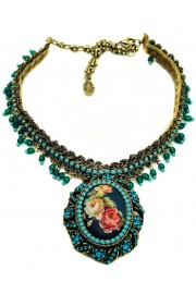 Michal Negrin Victorian Roses Turquoise Cameo Necklace
