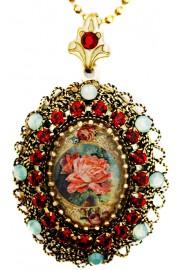 Michal Negrin Victorian Rose Locket Necklace