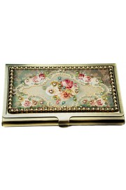 Michal Negrin Jeweled Rose Business Card Case