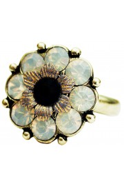 Michal Negrin Icy Grey Black Crystals Flower Ring