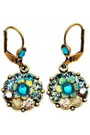 Michal Negrin Turquoise Tiedye Crystal Flower Earrings