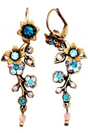 Michal Negrin Turquoise Lilac Cherry Blossom Earrings
