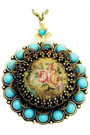 Michal Negrin Turquoise Roses Locket Necklace