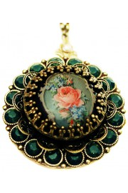 Michal Negrin Icy Green Rose Locket Necklace