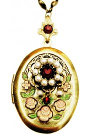 Michal Negrin Pearl Garnet Crystals Oval Locket Necklace