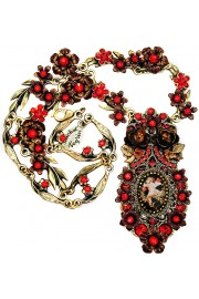 Michal Negrin Red Cupid Cameo Roses Ornate Necklace