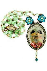 Michal Negrin Green Turquoise Dolls Kiss Cameo Beaded Necklace